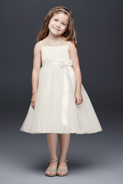 Sequin and Tulle Flower Girl Dress with Satin Sash | David's Bridal