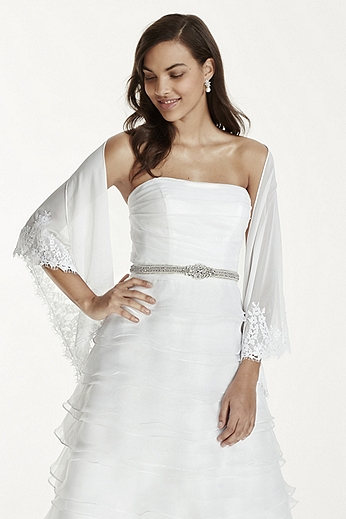 Tulle Triangle Wrap with Lace Embroidery WG154
