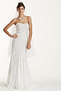 Petite Strapless Lace Gown with Ribbon Detail 7WG3381