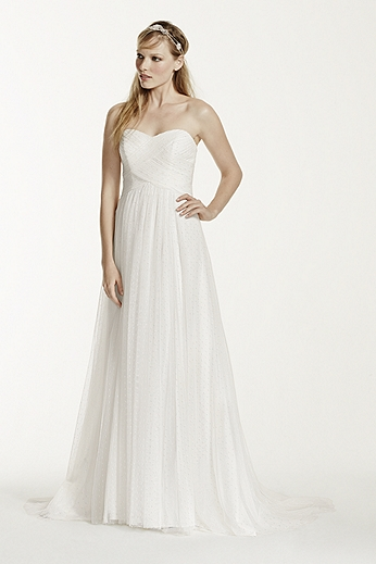 Swiss Dot Tulle Empire Waist Soft Wedding Gown WG3438