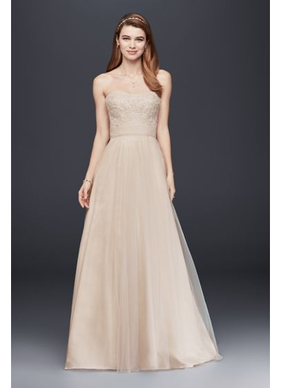 Strapless A-Line Beaded Lace Tulle Wedding Dress | David\'s Bridal