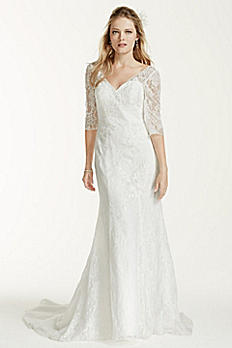 3/4 Sleeve All Over Lace Trumpet Wedding Dress WG3684