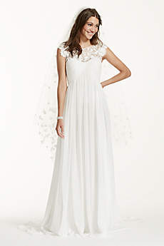 Cap Sleeve Chiffon A-Line with Floral Applique