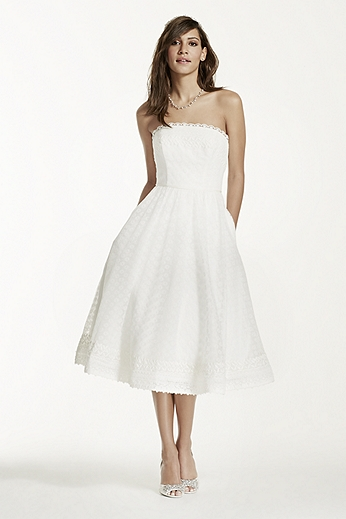 Strapless Tea Length Dress with Raschel Lace WG3705