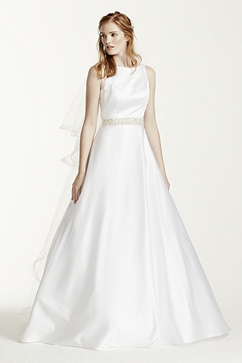High Neck Satin Wedding Dress with Open Back WG3710