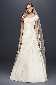 Long A-Line Cap Sleeves Dress - David's Bridal Collection