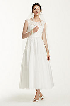 Tea Length Tulle Illusion Neckline Wedding Dress WG3721