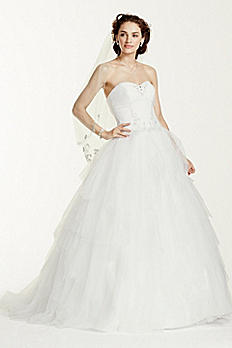 Jewel Strapless Tiered Tulle Wedding Dress WG3722