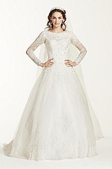 Jewel Long Sleeve Drop-Waist Tulle Wedding Dress WG3726