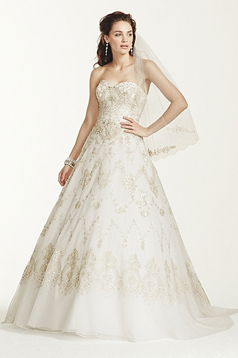 Strapless Dot Tulle Ball Gown with Beading WG3727
