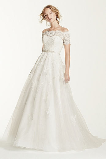 Lace Short Sleeve Off The Shoulder A-line Gown WG3728
