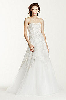 Jewel Tulle A-Line Wedding Dress with Lace Detail WG3729