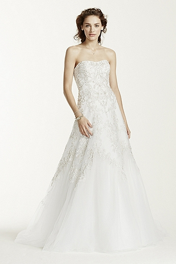 Strapless Tulle A-Line Gown with Applique Detail WG3729