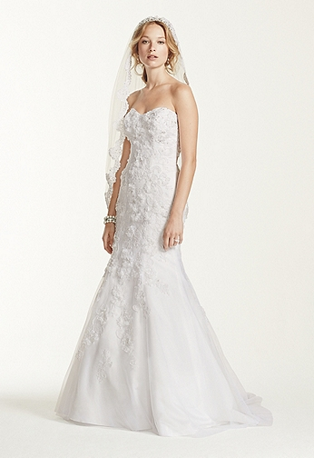 Tulle Over Satin Gown with Soutache Detail WG3732