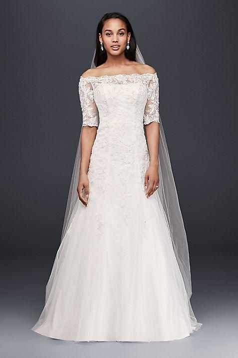 Jewel Off the Shoulder 3/4 Sleeve Wedding Dress   David\'s Bridal