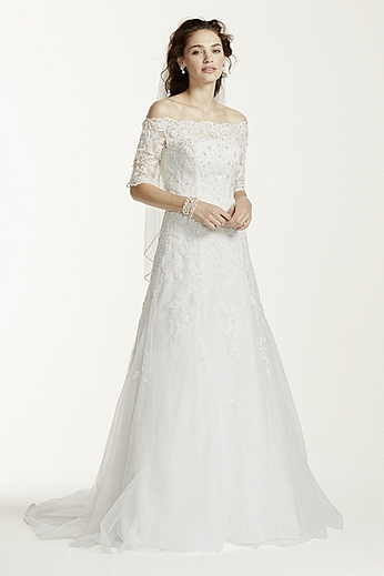 Off The Shoulder Lace Wedding Dress with Sleeves WG3734