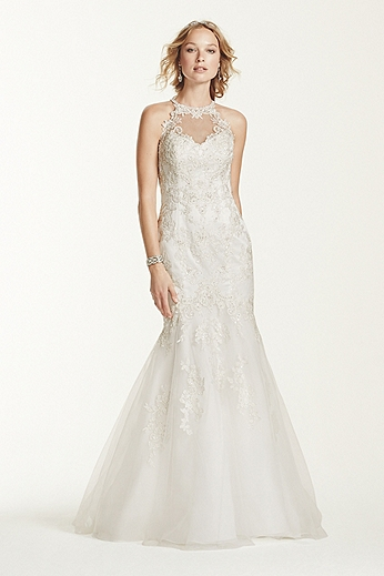 Jewel Lace and Tulle Illusion Neck Wedding Dress WG3735