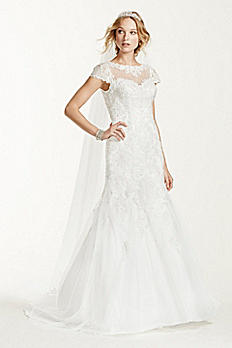 Jewel Lace Cap Sleeve Open Back Wedding Dress WG3736