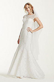 Jewel Lace Cap Sleeved Illusion Neck Wedding Dress WG3737