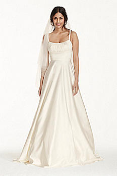 Satin Empire Wedding Dress with Spaghetti Straps WG3739