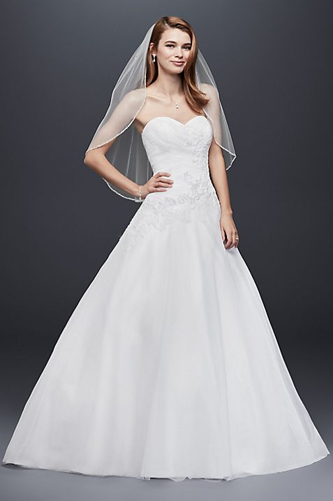 Strapless Tulle Wedding Dress with Lace Applique | David\'s Bridal