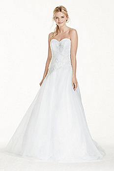 Strapless Tulle Wedding Dress with Lace Applique WG3740