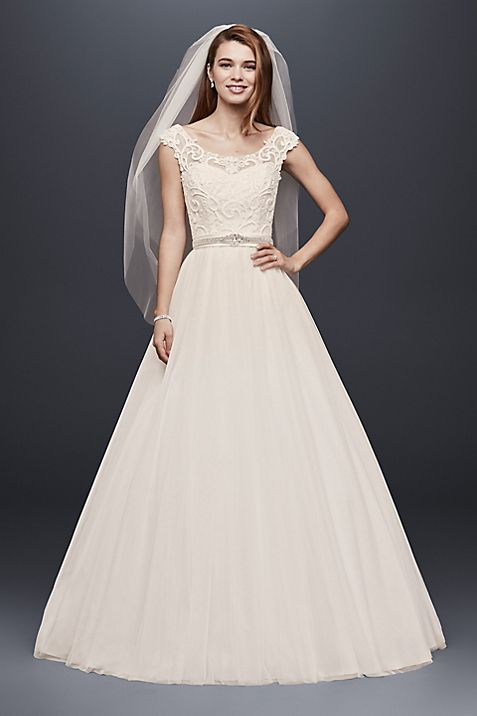 Tulle Wedding Dress with Lace Illusion Neckline | David\'s Bridal
