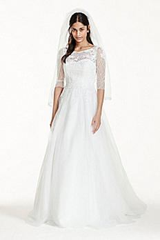 3/4 Sleeve Wedding Dress with Lace and Tulle Skirt WG3742