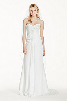 Strapless Chiffon Sheath Wedding Dress with Lace WG3746