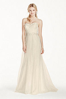 Strapless Tulle Over Lace Sheath Wedding Dress WG3750