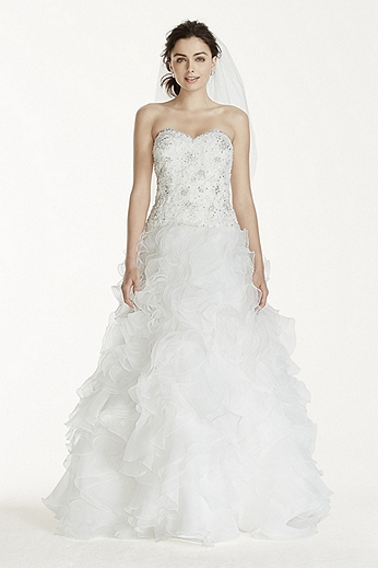 Petite Organza Ball Gown with Ruffle Skirt 7WG3752