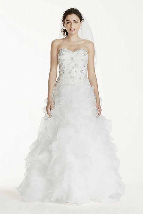 Jewel ruffled organza beaded petite wedding dress davids bridal junglespirit Choice Image