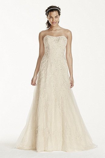 Petite Lace A Line Gown with Beaded Applique 7WG3755