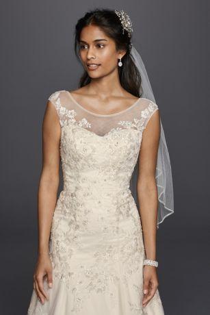 Jewel Tulle Aline Wedding Dress With Lace Applique David