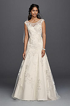 Jewel Tulle Aline Wedding Dress with Lace Applique WG3756