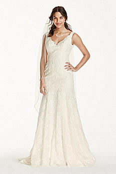 Jewel Lace Mermaid Scalloped Petite Wedding Dress 7WG3757