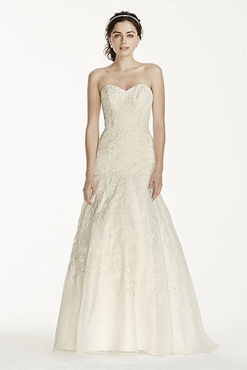 Petite Organza Trumpet Gown with Lace 7WG3759