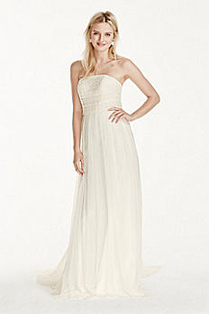 Extra Length Strapless Tulle Sheath with Lace 4XLWG3768