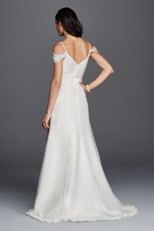 Tulle a line swag sleeve wedding dress david 39 s bridal for Wedding dress with swag sleeves