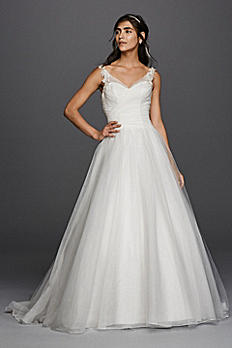 Petite Tulle Wedding Dress with Illusion Straps 7WG3786