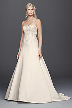 Satin Strapless A-line Wedding Dress with Beading WG3788