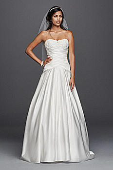Satin Beaded Lace Applique A-Line Wedding Dress WG3789