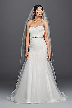 Strapless Lace Up Back Tulle Wedding Dress 4XLWG3791