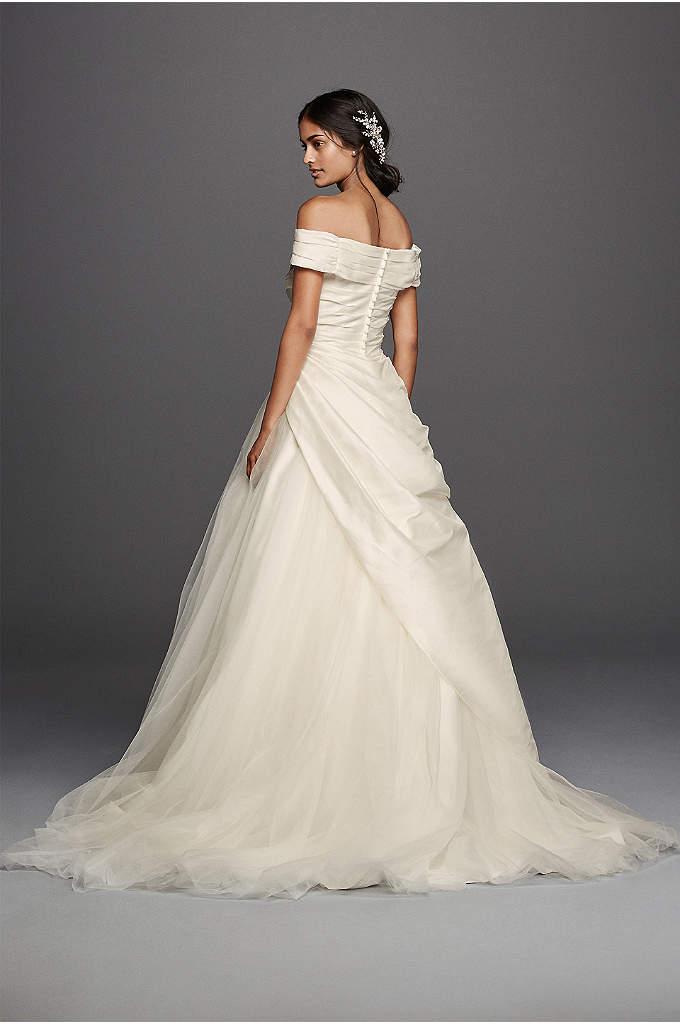 Jewel short sleeve off the shoulder wedding dress davids for Wedding dress david bridal