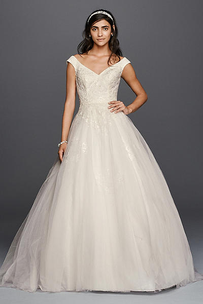 jewel tank tulle wedding dress with lace applique wg3797