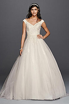 Petite Tank Tulle Wedding Dress with Lace Applique 7WG3797