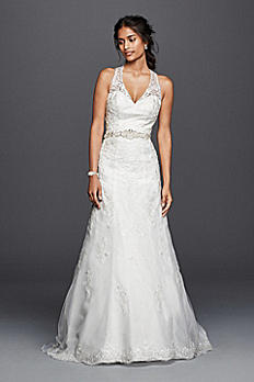 Petite Lace Wedding Dress with Halter Neckline 7WG3799