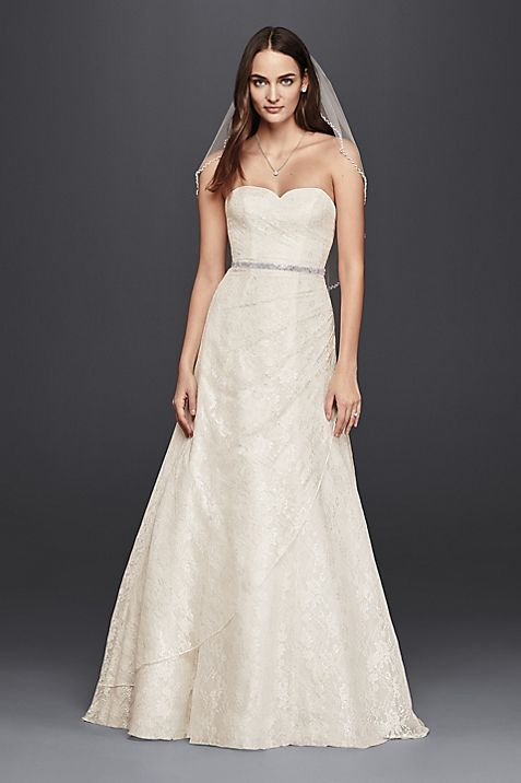 Allover Lace A Line Strapless Wedding Dress