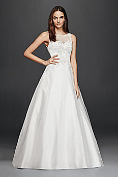 Petite A-Line Wedding Dress with Illusion Lace 7WG3808