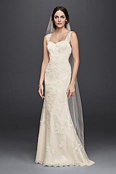 Petite Lace Wedding Dress with Tank Straps 7WG3816
